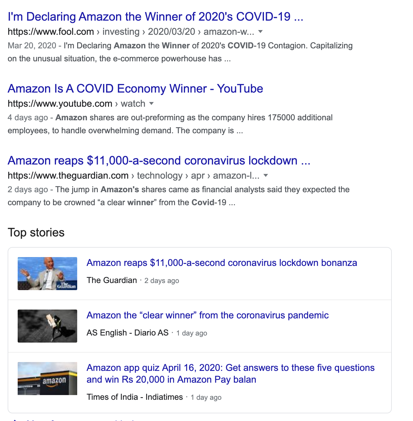 Screenshot showing the result of the google search for Amazon Covid Winner